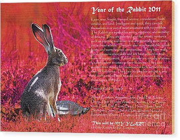 Year Of The Rabbit 2011 . Red Wood Print by Wingsdomain Art and Photography