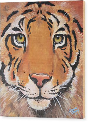 Year Of The Tiger Wood Print by Laura Carey