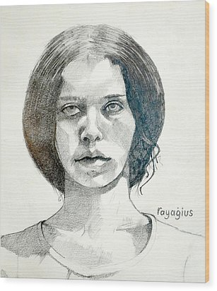 Wood Print featuring the drawing Yelena by Ray Agius