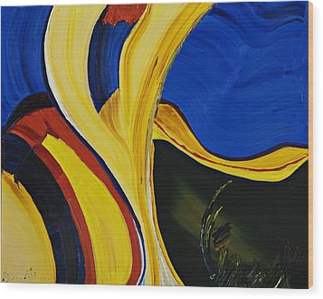 Yellow Abstract Wood Print by Gregory Allen Page