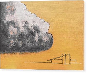 Yellow Alex Dark Cloud Wood Print