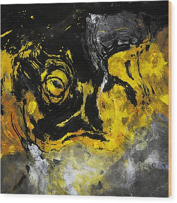 Wood Print featuring the painting Yellow And Black Abstract Art by Ayse Deniz