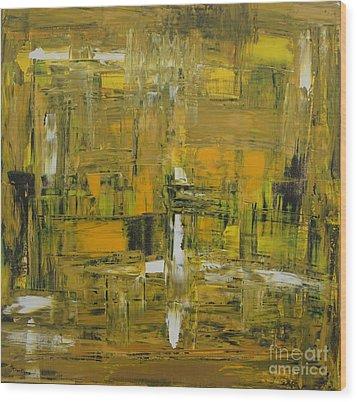 Yellow And Black Abstract Wood Print