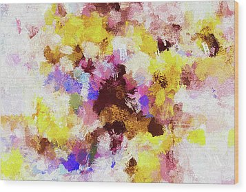 Wood Print featuring the painting Yellow And Pink Abstract Painting by Ayse Deniz