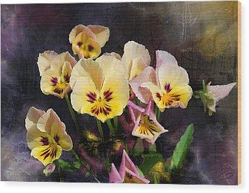Yellow And Pink Pansies Wood Print by Debra Baldwin