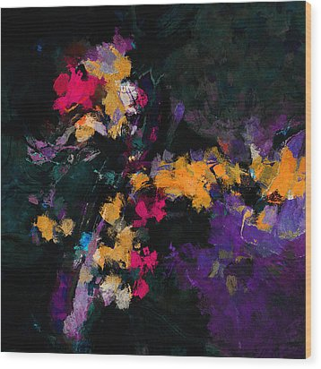 Wood Print featuring the painting Yellow And Purple Abstract / Modern Painting by Ayse Deniz