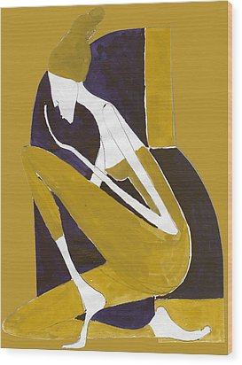 Wood Print featuring the painting Yellow And Violet by Maya Manolova