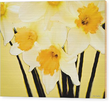 Yellow And White Daffodils. Wood Print