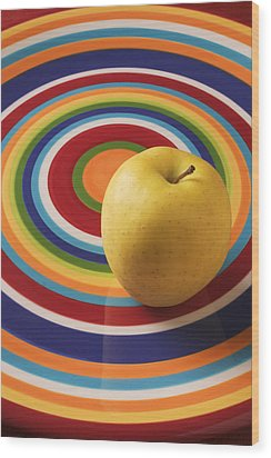 Yellow Apple  Wood Print by Garry Gay