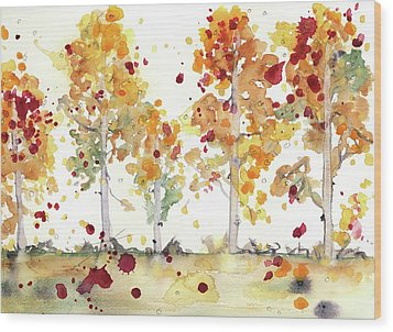 Wood Print featuring the painting Yellow Aspens by Dawn Derman