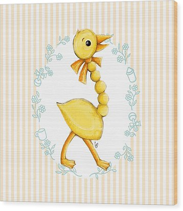 Yellow Baby Duck Wood Print