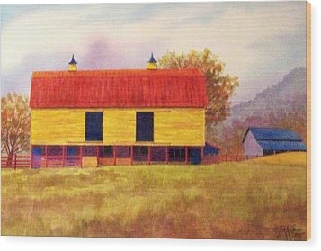 Yellow Barn Wood Print by Hugh Harris