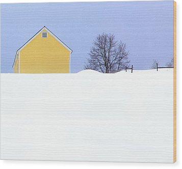 Yellow Barn In Snow Wood Print