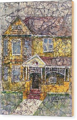 Yellow Batik House Wood Print by Arline Wagner