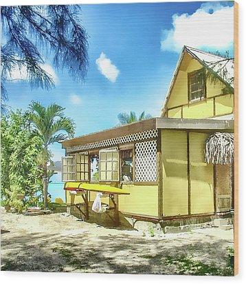 Wood Print featuring the photograph Yellow Beach Bungalow Bora Bora by Julie Palencia
