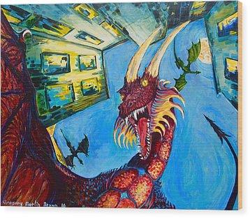 Yellow Bearded Dragon Wood Print