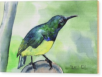Wood Print featuring the painting Yellow Bellied Sunbird by Dora Hathazi Mendes