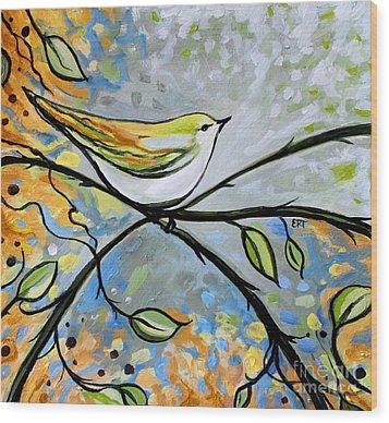 Yellow Bird Among Sage Twigs Wood Print by Elizabeth Robinette Tyndall
