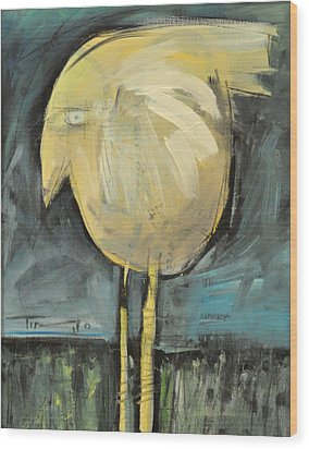 Yellow Bird In Field Wood Print by Tim Nyberg