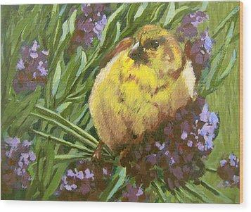 Wood Print featuring the painting Yellow Bird by Karen Ilari