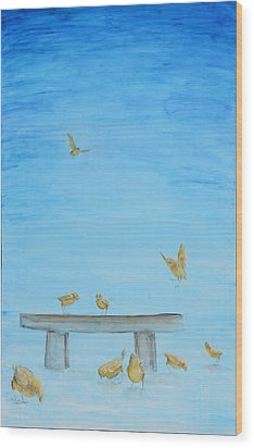 Wood Print featuring the painting Yellow Birds In The Blue1 by Nik Helbig