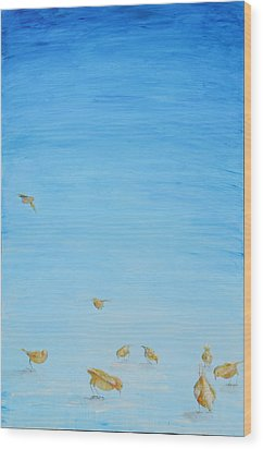 Wood Print featuring the painting Yellow Birds In The Blue2 by Nik Helbig