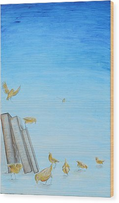 Wood Print featuring the painting Yellow Birds In The Blue3 by Nik Helbig