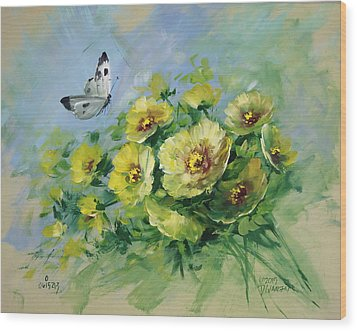 Yellow Blossoms And Butterfly Wood Print by David Jansen