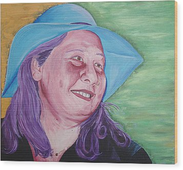 Wood Print featuring the painting Yellow Blue Green Christine by Kevin Callahan