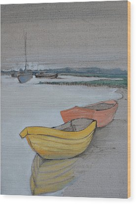 Yellow Boat 2 Wood Print by Amy Bernays