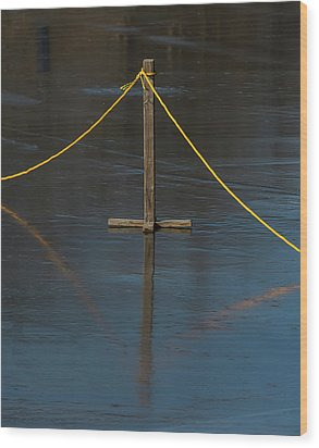 Wood Print featuring the photograph Yellow Boundary On Ice by Gary Slawsky