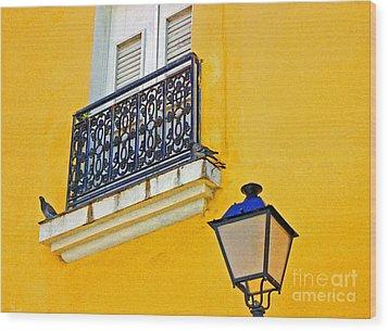 Yellow Building Wood Print by Debbi Granruth