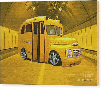 Yellow Bus Wood Print by Jerry L Barrett