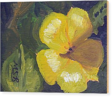 Yellow Buttercup  Wood Print by Maria Soto Robbins