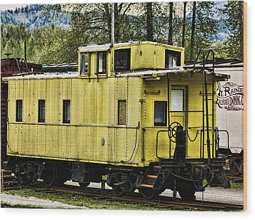 Yellow Caboose Wood Print by Ron Roberts