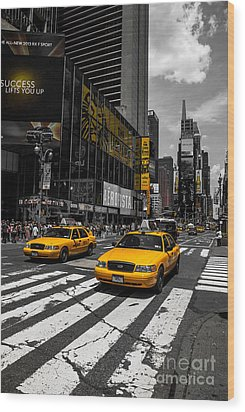 Yellow Cabs Cruisin On The Times Square  Wood Print by Hannes Cmarits