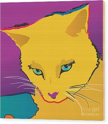 Yellow Cat Square Wood Print
