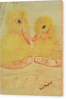 Yellow Chicks Wood Print by Paula Maybery