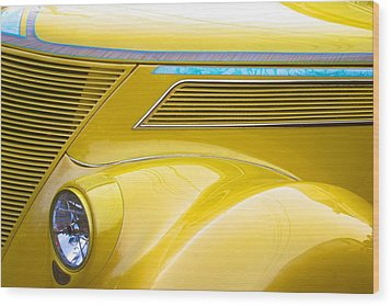 Wood Print featuring the photograph Yellow Classic Car Contours by Polly Castor