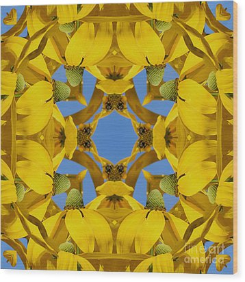 Wood Print featuring the photograph Yellow Coneflower Kaleidoscope by Smilin Eyes  Treasures