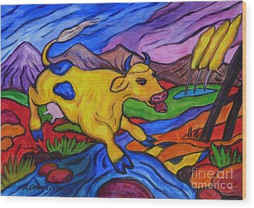 Yellow Cow Jumps A Creek Wood Print