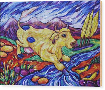 Yellow Cow Jumps The Creek Wood Print