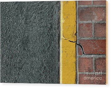 Yellow Curb Wood Print by Dan Holm
