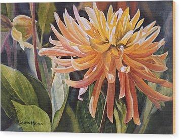 Yellow Dahlia Wood Print by Sharon Freeman