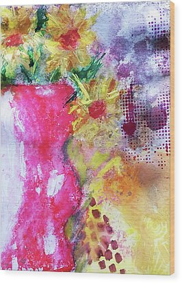 Wood Print featuring the mixed media Yellow Daisies by Lisa McKinney