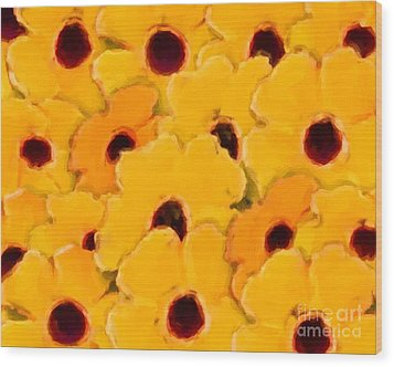 Yellow Daisy Flowers Wood Print