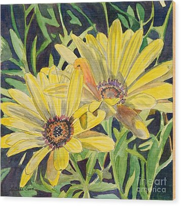 Wood Print featuring the painting Yellow Daisy by LeAnne Sowa