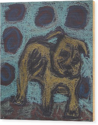Wood Print featuring the painting Yellow Dog by Patricia Januszkiewicz