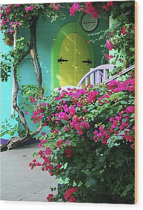 Yellow Door Wood Print by Michael Thomas
