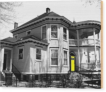 Yellow Door Wood Print by Will Borden